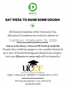 Dewey's Flyer - present at Dewey's Pizza in U-City to donate to UCEF